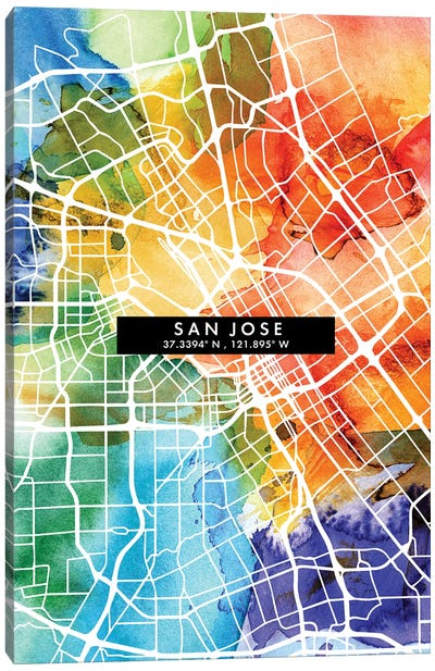 San Jose City Map Colorful Watercolor Style Canvas Art Print