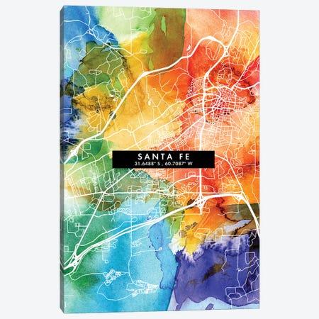 Santa Fe, Argentina City Map Colorful Watercolor Style Canvas Print #WDA1888} by WallDecorAddict Canvas Artwork