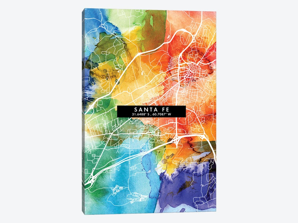Santa Fe, Argentina City Map Colorful Watercolor Style by WallDecorAddict 1-piece Art Print