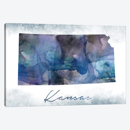 Kansas State Bluish Canvas Print #WDA188} by WallDecorAddict Canvas Wall Art