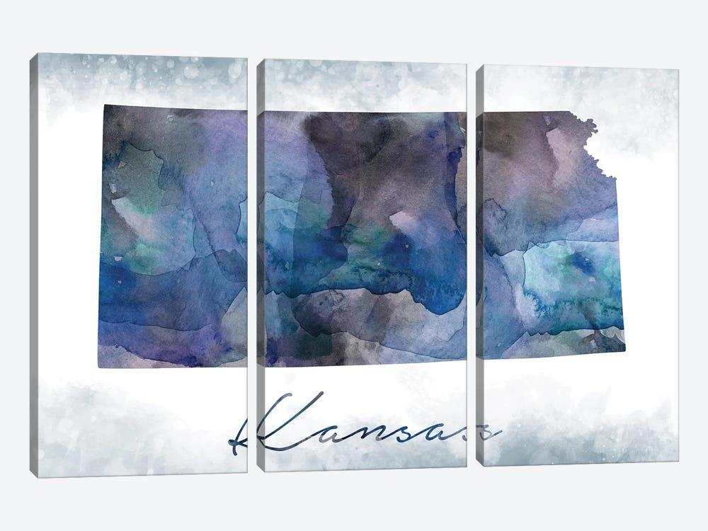 Kansas State Bluish by WallDecorAddict 3-piece Canvas Artwork