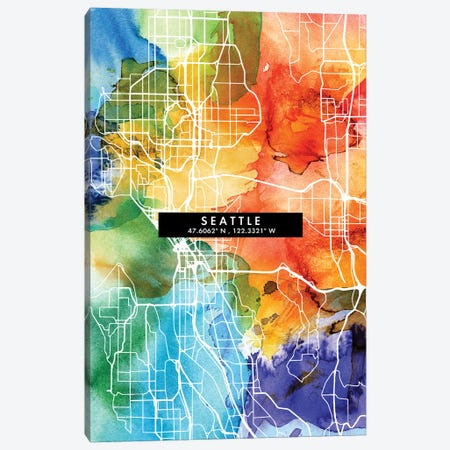 Seattle City Map Colorful Watercolor Style Canvas Print #WDA1891} by WallDecorAddict Canvas Art Print