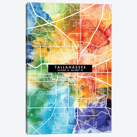 Tallahassee, Florida City Map Colorful Watercolor Style Canvas Print #WDA1898} by WallDecorAddict Art Print