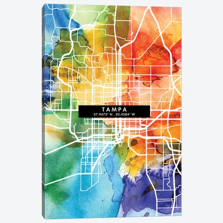 Tampa City Map Colorful Watercolor Style Canvas Print #WDA1899} by WallDecorAddict Art Print