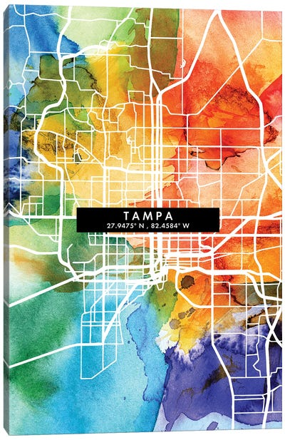 Tampa City Map Colorful Watercolor Style Canvas Art Print