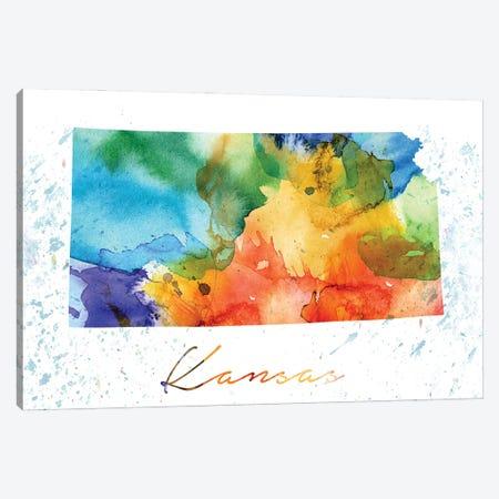 Kansas State Colorful Canvas Print #WDA189} by WallDecorAddict Canvas Art