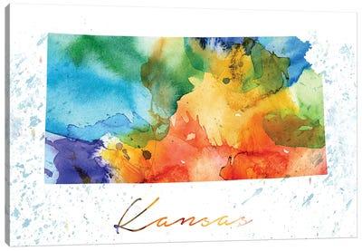 Kansas State Colorful Canvas Art Print