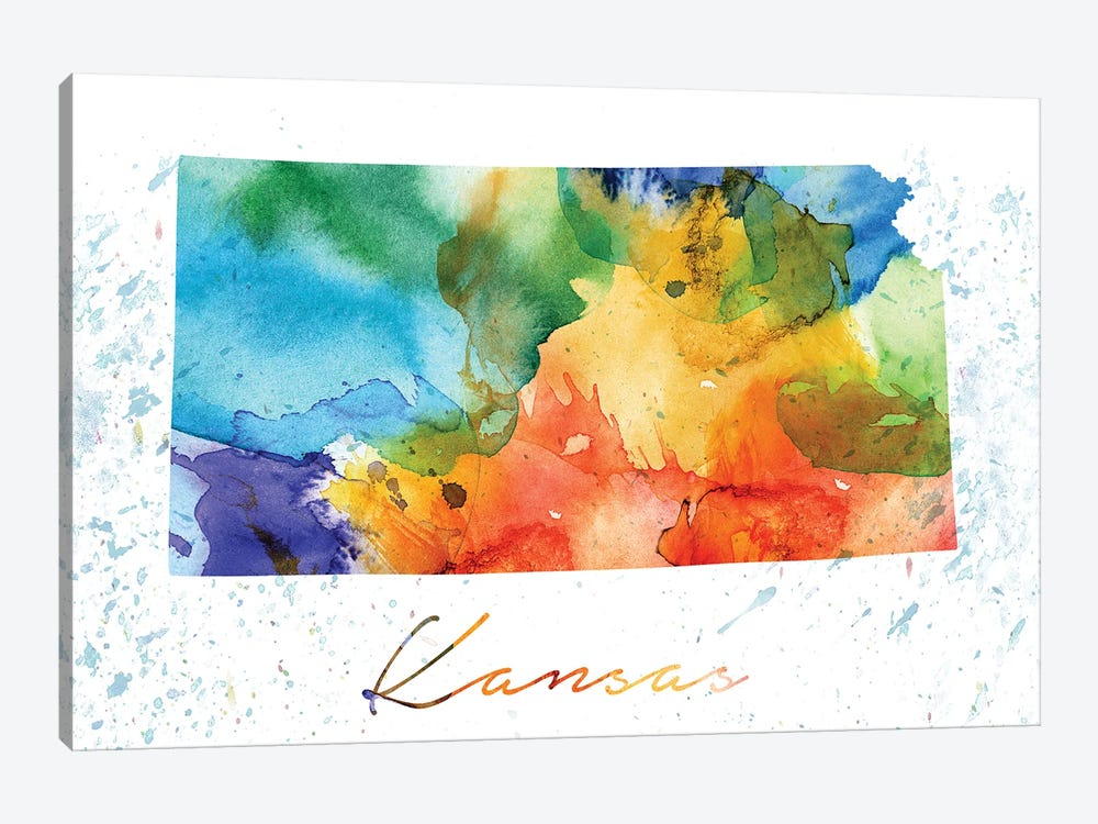 Kansas State Colorful by WallDecorAddict 1-piece Canvas Art Print