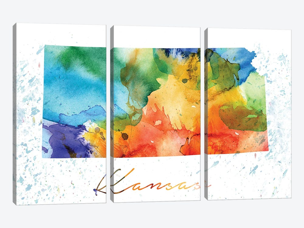 Kansas State Colorful by WallDecorAddict 3-piece Canvas Art Print