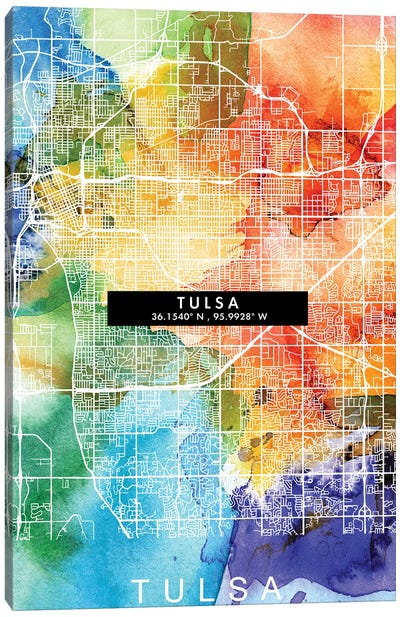 Tulsa City Map Colorful Watercolor Style Canvas Art Print