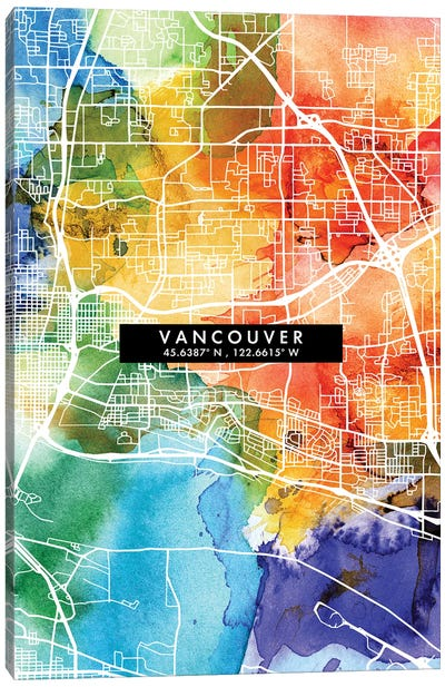 Vancouver City Map Colorful Watercolor Style Canvas Art Print