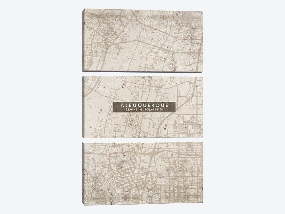 Albuquerque, New Mexico, City Map Abstract Style by WallDecorAddict 3-piece Canvas Art