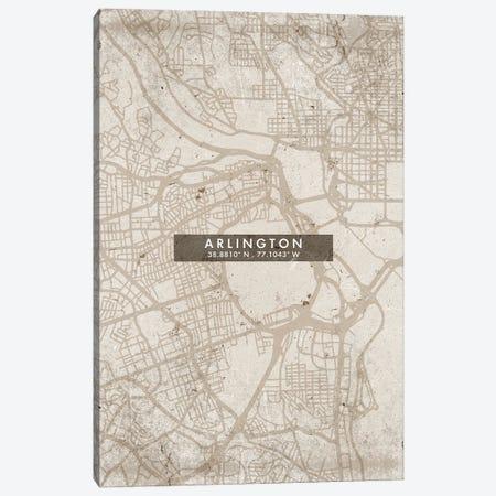 Arlington City Map Abstract Style Canvas Print #WDA1907} by WallDecorAddict Canvas Artwork