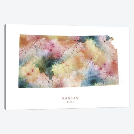 Kansas Watercolor State Map Canvas Print #WDA190} by WallDecorAddict Canvas Art Print