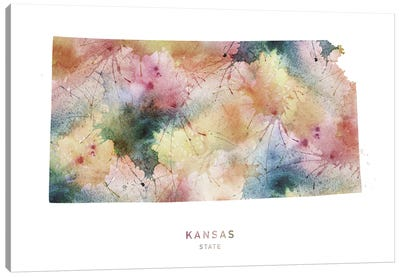 Kansas Watercolor State Map Canvas Art Print
