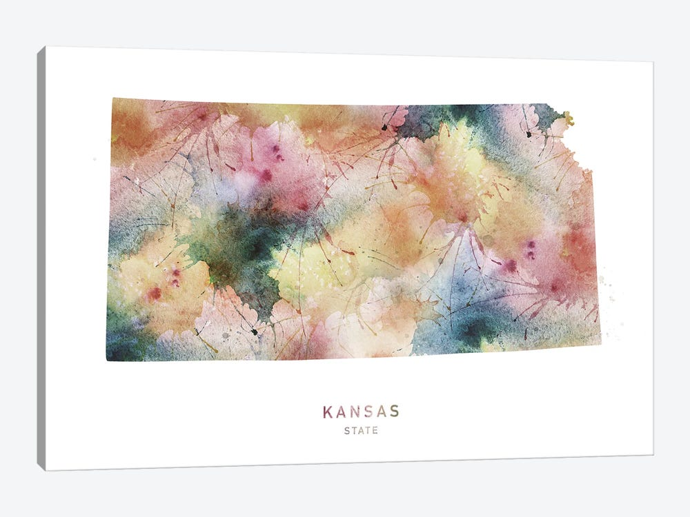 Kansas Watercolor State Map by WallDecorAddict 1-piece Art Print