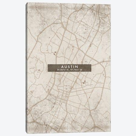 Austin City Map Abstract Style Canvas Print #WDA1910} by WallDecorAddict Canvas Wall Art