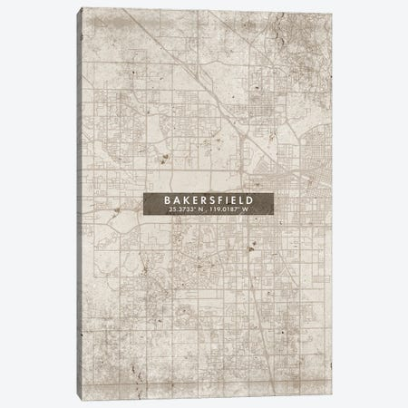 Bakersfield City Map Abstract Style Canvas Print #WDA1911} by WallDecorAddict Canvas Wall Art