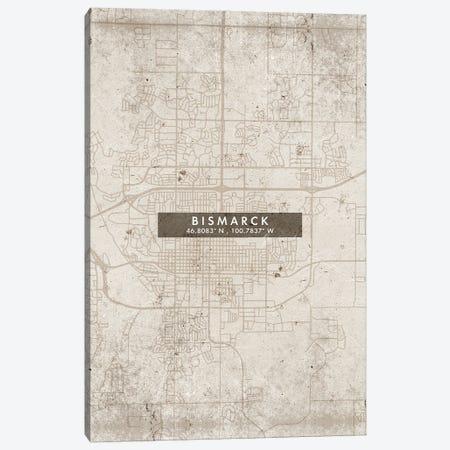 Bismarck, North Dakota City Map Abstract Style Canvas Print #WDA1915} by WallDecorAddict Art Print
