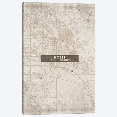 Boise City Map Abstract Style Canvas Print #WDA1916} by WallDecorAddict Canvas Art Print