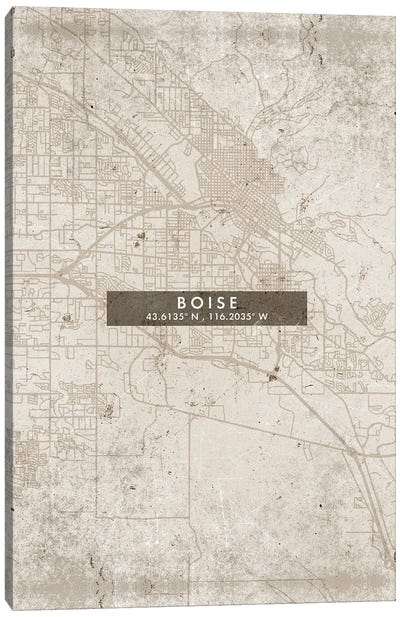 Boise City Map Abstract Style Canvas Art Print