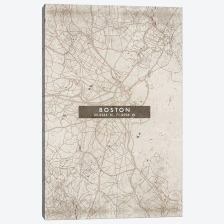 Boston City Map Abstract Style Canvas Print #WDA1917} by WallDecorAddict Canvas Print