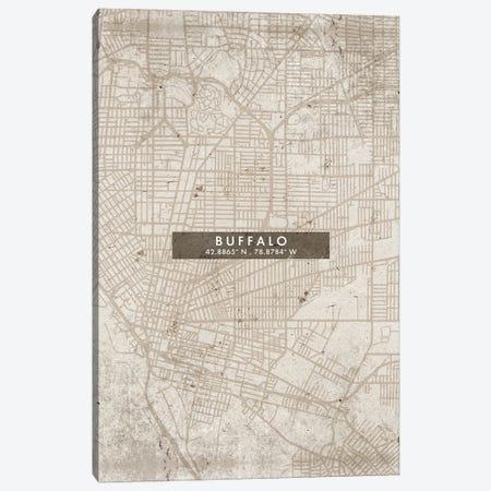 Buffalo City Map Abstract Style Canvas Print #WDA1922} by WallDecorAddict Canvas Print