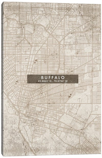 Buffalo City Map Abstract Style Canvas Art Print