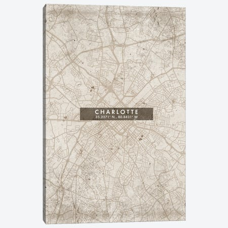 Charlotte City Map Abstract Style Canvas Print #WDA1925} by WallDecorAddict Canvas Artwork