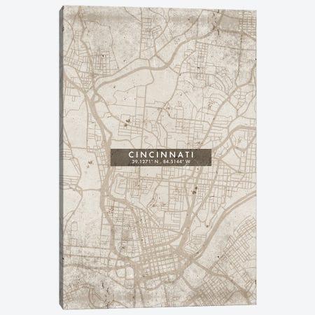 Cincinnati City Map Abstract Style Canvas Print #WDA1928} by WallDecorAddict Canvas Art Print