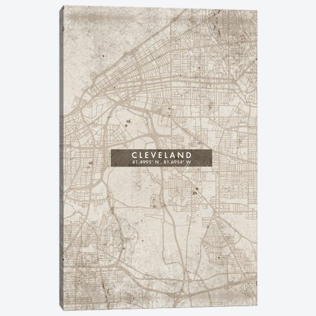 Cleveland City Map Abstract Style Canvas Print #WDA1929} by WallDecorAddict Canvas Print