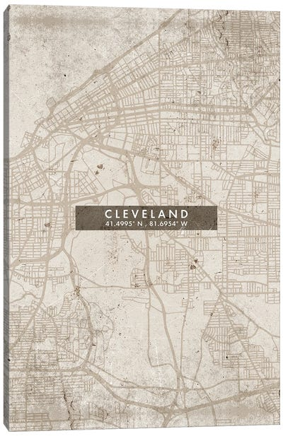 Cleveland City Map Abstract Style Canvas Art Print