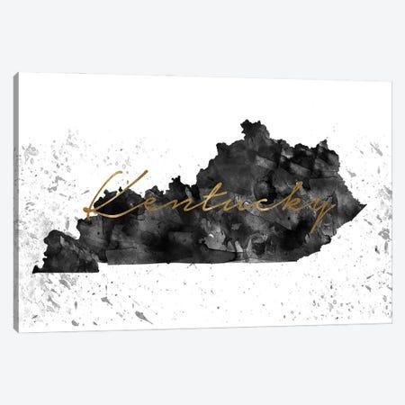Kentucky Black And White Gold Canvas Print #WDA192} by WallDecorAddict Canvas Print