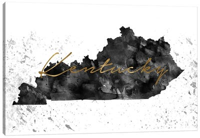 Kentucky Black And White Gold Canvas Art Print