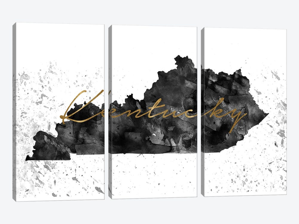 Kentucky Black And White Gold by WallDecorAddict 3-piece Art Print