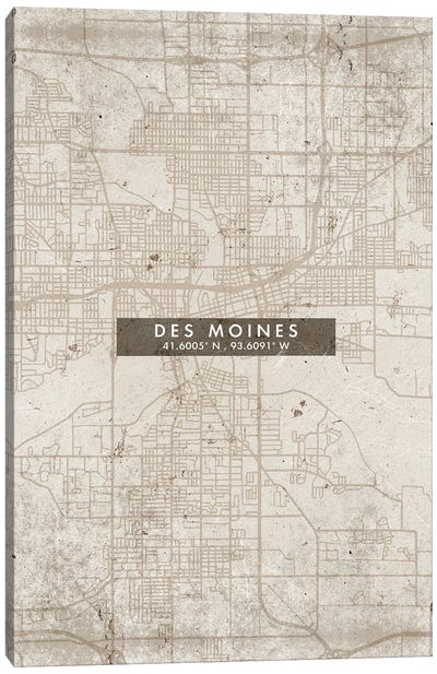 Des Moines City Map Abstract Style Canvas Art Print
