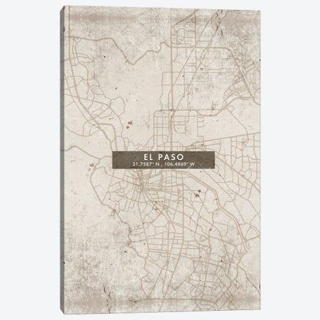 El Paso City Map Abstract Style Canvas Print #WDA1937} by WallDecorAddict Canvas Print