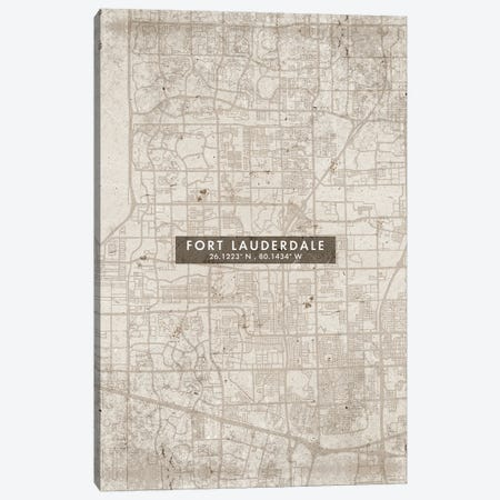 Fort Lauderdale City Map Abstract Style Canvas Print #WDA1938} by WallDecorAddict Canvas Artwork