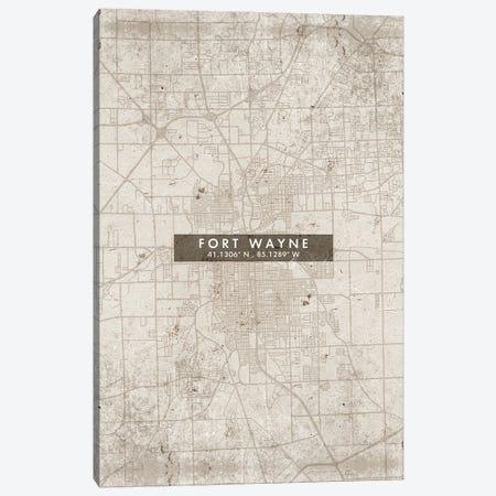 Fort Wayne City Map Abstract Style Canvas Print #WDA1939} by WallDecorAddict Canvas Art