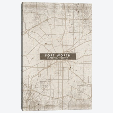 Fort Worth City Map Abstract Style Canvas Print #WDA1940} by WallDecorAddict Art Print