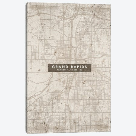 Grand Rapids City Map Abstract Style Canvas Print #WDA1943} by WallDecorAddict Canvas Print