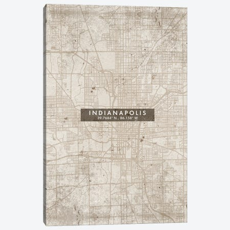 Indianapolis City Map Abstract Style Canvas Print #WDA1948} by WallDecorAddict Art Print