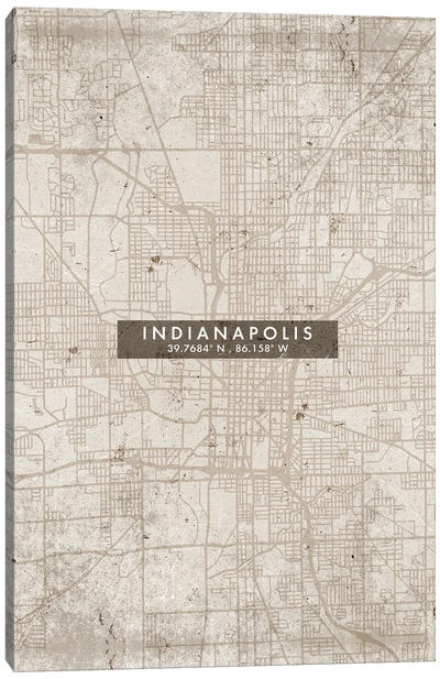 Indianapolis City Map Abstract Style Canvas Art Print