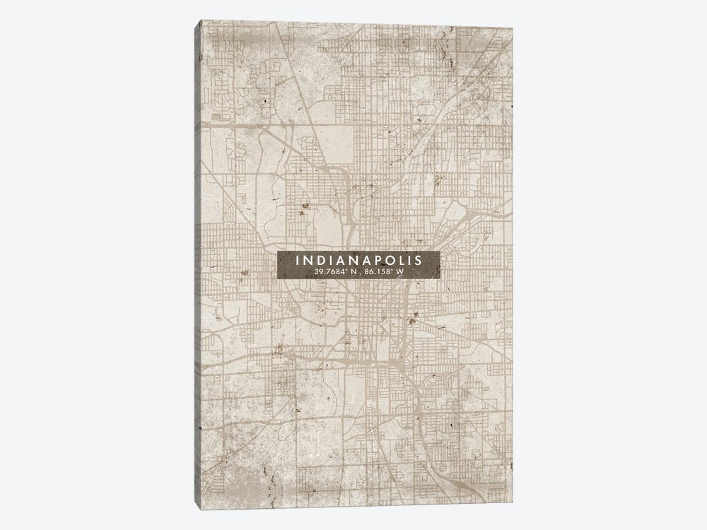 Indianapolis City Map Abstract Style by WallDecorAddict 1-piece Canvas Artwork