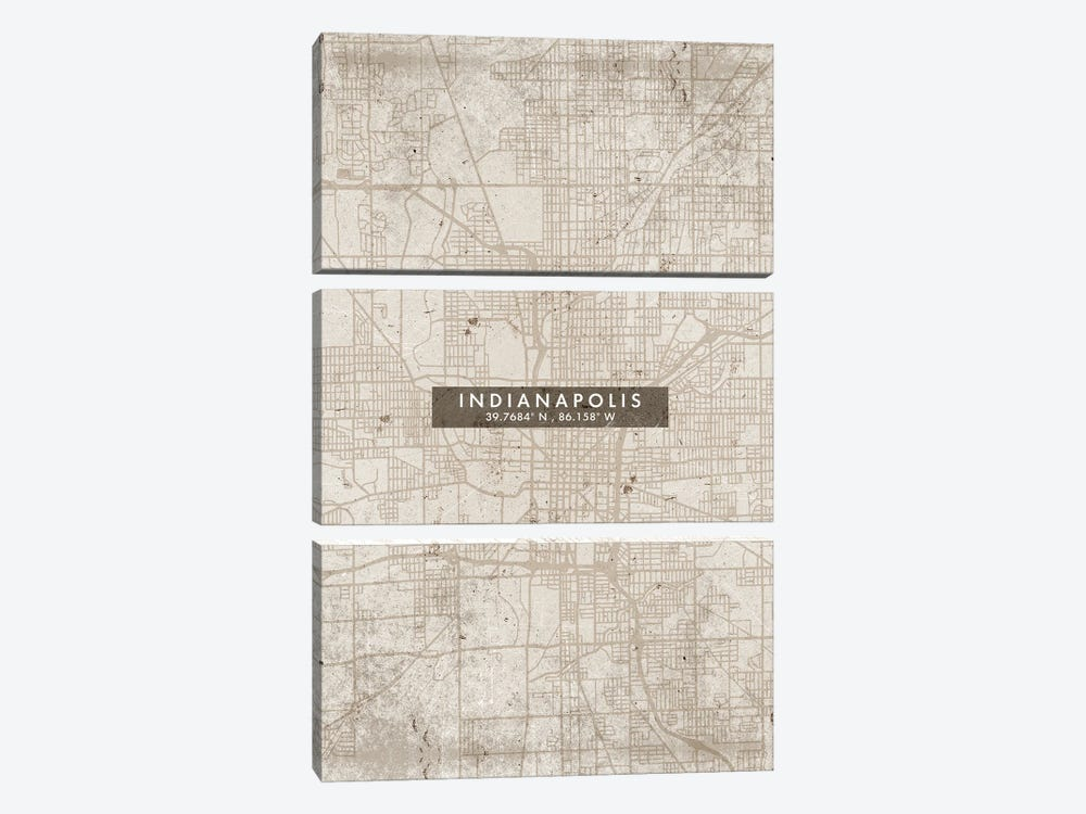 Indianapolis City Map Abstract Style by WallDecorAddict 3-piece Canvas Art