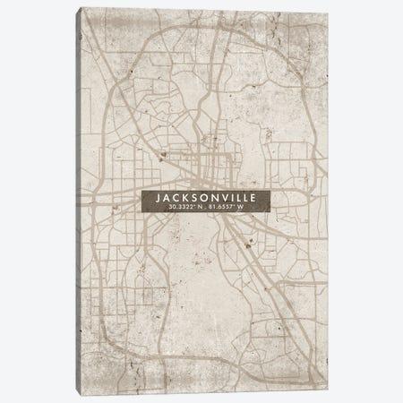 Jacksonville City Map Abstract Style Canvas Print #WDA1949} by WallDecorAddict Canvas Print