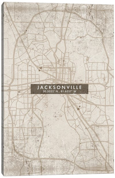 Jacksonville City Map Abstract Style Canvas Art Print