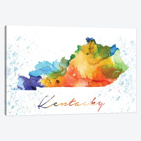 Kentucky State Colorful Canvas Print #WDA194} by WallDecorAddict Canvas Artwork