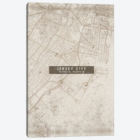 Jersey City, New Jersey, City Map Abstract Style Canvas Print #WDA1950} by WallDecorAddict Canvas Artwork