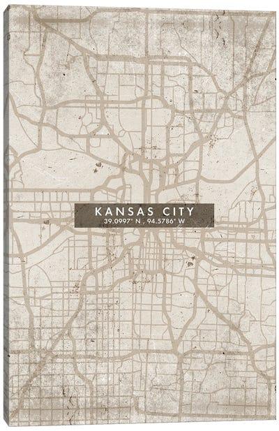 Kansas City Map Abstract Style Canvas Art Print